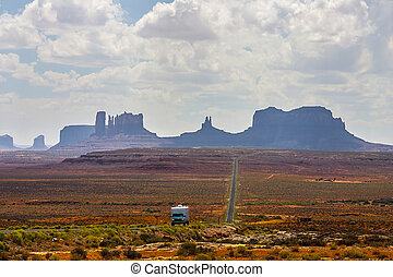 Straight stretch of highway from Monument Valley