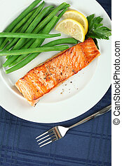 Straight View of Grilled Salmon Fellet with Green Beans