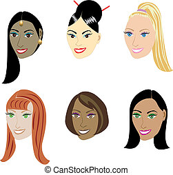 straighthairstyles - Vector Illustration set of 6 types of...