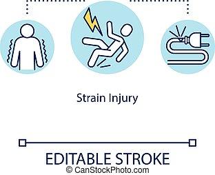 Strain injury, tendon traumatism concept icon. Anatomical ...