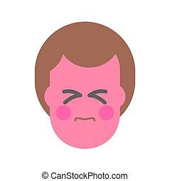 Straining face. Strain Emoji Red face man. Icon avatar vector illustration