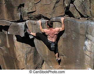 strains, escalador, rocha