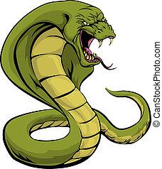 strajk, o, kobra, wąż