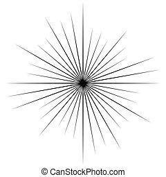 stralen, abstract, flits, lijnen, effect, balken, radiaal, stralen, element., circulaire