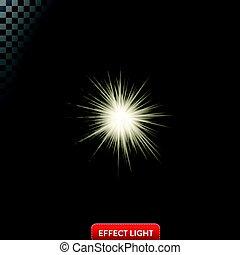 stralen, lichteffect, illustratie, lensgloed, gloeiend, vector