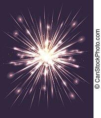 stralen, ontploffing, glare., creativiteit, element, helder, vector, jouw