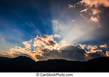 stralen, wolken, licht, donker, door, achtergrond, het glanzen