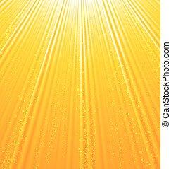 stralen, zon, abstract, achtergrond, licht, sinaasappel