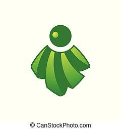 stralen, zon, abstract, groene, icon., logo.