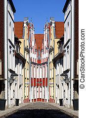 stralsund, cidade velha, abstratos