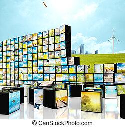 straming, conceito, multimedia