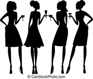strana, silhouettes, koktejl