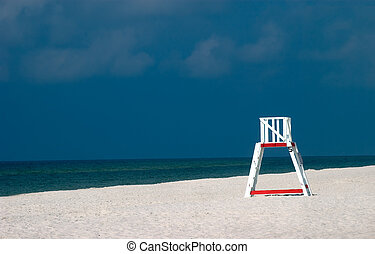strandőr, lakatlan, szék, tengerpart