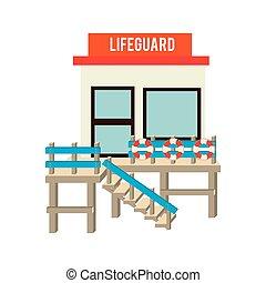strandőr, tengerpart, állomás, tervezés