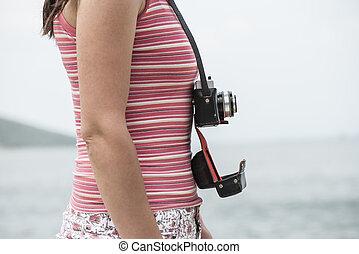 strand, årgång, kvinna, kamera