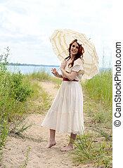 strand, årgång, kvinna, parasoll, bana
