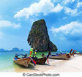 strand., ö, resa, asien, kust, tropisk, båt, bakgrund,...