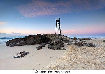 strand, australien, retfærdig, redhead, foran, solopgang, nsw