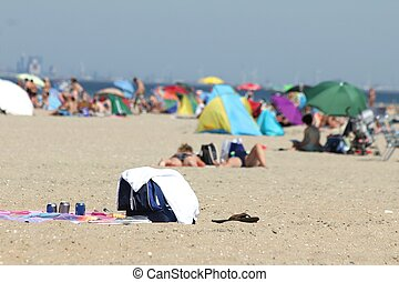 strand, avkopplande, folk