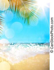 strand, bakgrund, sommar