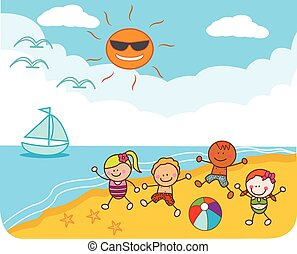 strand, barn, leka