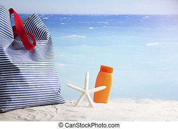 strand, blanka blåa, tillbehör, s