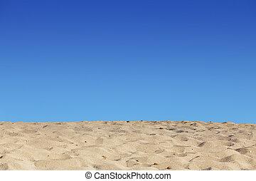 strand, blauwe hemel, en, zand, achtergrond