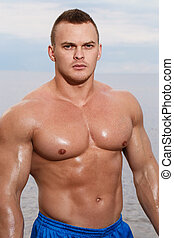 strand, bodybuilder, sexy