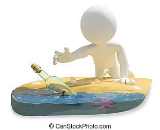 strand, boodschap, fles, mensen., 3d, witte