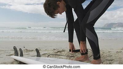 strand, branding, man, het bereiden, jonge
