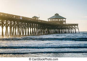 strand, carolina., dårskap, ocean, atlanten, vågor, soluppgång, pir, syd