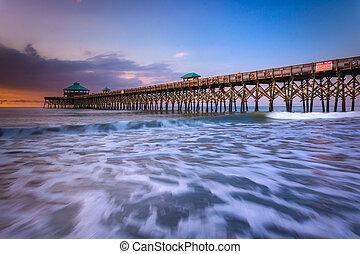 strand, carolina., dårskap, soluppgång, fiskande pir, syd