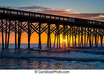 strand, carolina., dårskap, soluppgång, pir, syd
