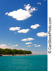 strand, cloudscape, in, den, sommar
