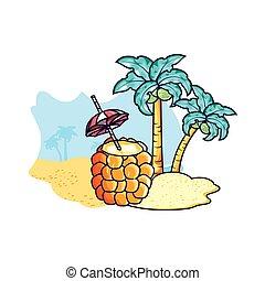 strand, cocktail, ananas