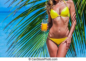 strand, cocktail, kvinna