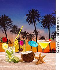 strand, cocktail, ondergaande zon , op, palmboom, zand, mojito, margarita