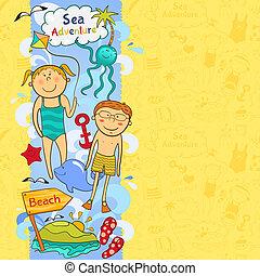 strand, communie, schattig, grens, kinderen