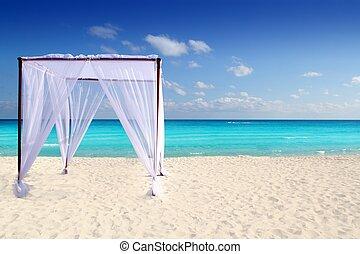 strand, de caraïben, gazebo, masseren, trouwfeest