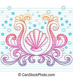 strand, doodle, sketchy, vector, schaal