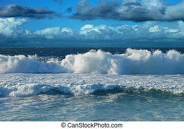 strand, en, hemel