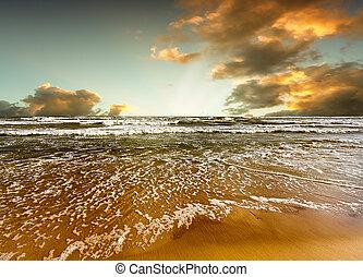 strand, en, zee, ondergaande zon