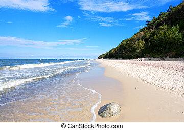 strand, en, zee