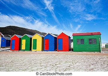 strand, färgrik, husera