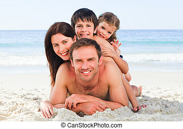 strand, familie