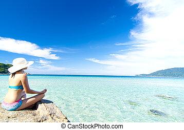 strand, flicka, asiat, yoga