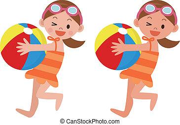 strand, flicka, boll