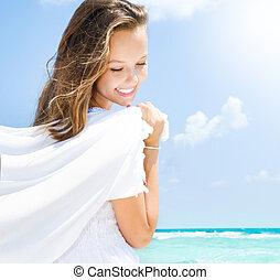 strand, flicka, havande kul, vacker