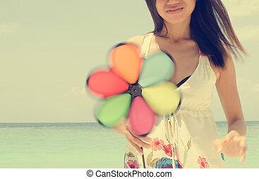 strand, flicka, liten sol, asiat, användande