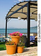 strand, frilufts restaurang
